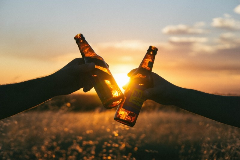 friends-toasting-with-beer-bottles-in-meadow-at-sunset